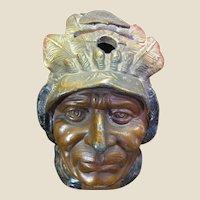Super Detailed Early Indian Head Still Bank with Original Paint