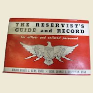 The Reservist's Guide and Record Daniel J. Kern 1954 HC DJ Military