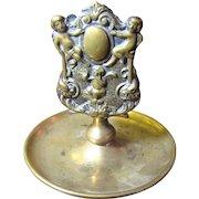 1900, Antique Brass Embossed Cherub Ornate Matchbox Holder With Pipe Ashtray