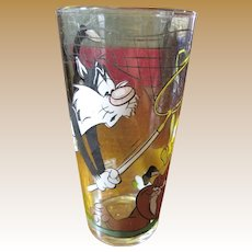 1976 Pepsi Collector Series Warner Brothers Glass Featuring Sylvester, Tweety & Spike