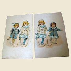 Pair of Advertising Postcards circa 1912 Hill Dental Co. Lancaster PA No. 2