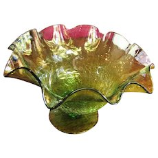 Unusual Hand Blown Crackled Art Glass Vase with Ruffled Edge‏