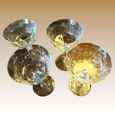 3 Antique Wheel Cut Crystal Claret Glasses, Ornate Decoration, Faceted Stems
