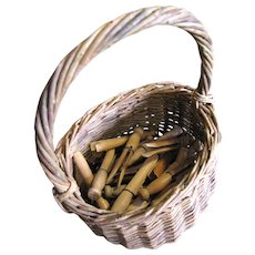 Primtive Old Wicker Basket with 40 Hand Made Wooden Clothes Pegs