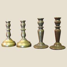 2 Pairs of Minaiture Brass Vintage Candlesticks