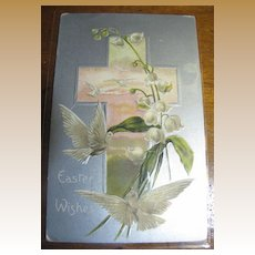 """1910 """"Easter Wishes"""" Embossed and Silvered Postcard"""