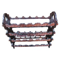Large 24 Bottle Carved & Pegged Hand Made Walnut Wine Rack