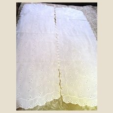 """Matched Pair of Two 46"""" Vintage Leaf Pattern Broderie Anglais Runners"""