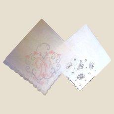 Romantic Pair of Embroidered & Appliqued Batiste Hankies