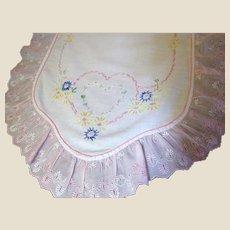 ROMANTIC Hearts & Pink Ruffles Table Runner