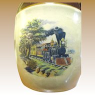 Interesting Mid Century Steam Train Stoneware Liqueur Jug