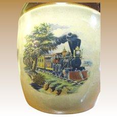 Interesting Mid Century Steam Train Stoneware Liqueur Jug
