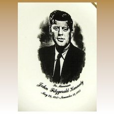 Vintage John F Kennedy Memoriam Plate, Very Good Condition