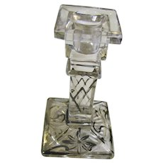 Lovely Antique 19th Century Sterling Overlay Crystal Candlestick