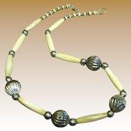 Lovely Vintage Carved Bone Tribal Necklace