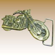 Cool Vintage Solid Brass Motorcycle Buckle, circa 1970's
