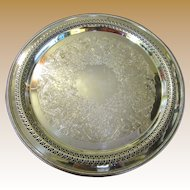 "Nice Large 15"" Diameter Ornate Silver Plated Tray by Wm. Rogers"