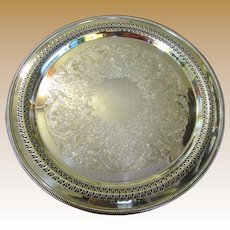 """Nice Large 15"""" Diameter Ornate Silver Plated Tray by Wm. Rogers"""