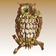 Vintage Retro Napier Owl Pin with Rhinestone Eyes