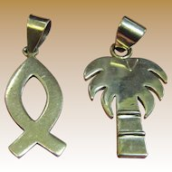 "2 Sterling Silver 1 5/8"" Pendants, Palm Tree & Fish. 10 Grams"