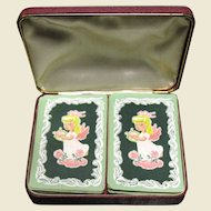 Vintage Angel Playing Cards in Leatherette Bound Case Silk Lining