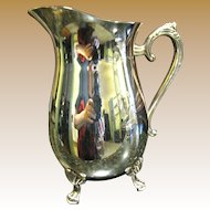 Elegant Silver on Copper Drinks Pitcher, Paw Feet, Ice Lip!