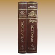 Nice Boxed Set of College Dictionary and World Atlas, 1985, Leatherette