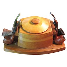 A vintage wooden pipe stand/ humidor circa 1950's