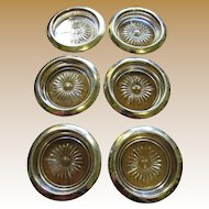 Lovely  Set of 6 Silver Plated & Crystal Coasters (up to 4 sets available)