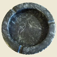 Super Large Hand Cut Stone Ashtray with Marine Animal Engravings