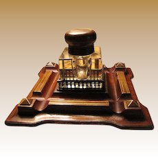 Antique English Victorian Pen and Ink Stand with Brass Banding