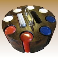 Nice Vintage Poker Set;  Chips, Cards, and Wooden Caddy