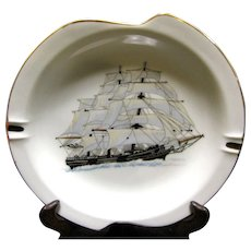 Large and Lovely Mid Century Sailing Ship Porcelain Ashtray No 2