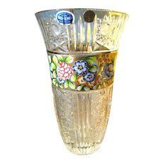 "Massive 12"" Bohemian 24% Lead Cut Crystal Vase with Gilt Enameled Decoration"