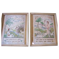 Beautiful Pair of Pastoral Biblical Theme Victorian Samplers