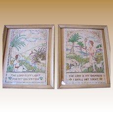 Beautiful Pair of Pastoral Biblical Theme Victorian Samplers
