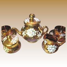 Vintage Pink Gilt & Enamelled Bohemian Glass 17 Piece Tea Set