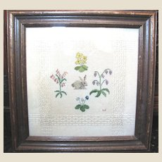Vintage Sampler, Rabbit and Flowers on Woven Wool
