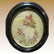Victorian Watercolor Painting of Flowers & Leaves,Oval Black Frame