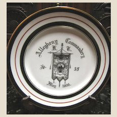 Antique Masonic Allegheny Commandery Plate 1906 no.35 Mason Trenton, NJ Fraternity