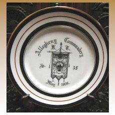 Antique Masonic Allegheny Commandery Plate 1906 no.35 Mason Trenton, NJ Fraternity