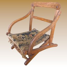 Antique Campaign Folding Doll Chair, Old Brocade!