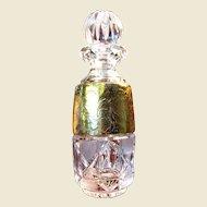 Exquisite Bohemian Cut & Gilt Lead Crystal Perfume Bottle