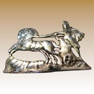 Sophisticated Shiebler Style Oxidized Sterling Roman Charioteer Figural Pin, 12 Grams