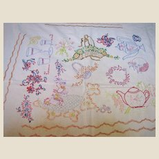 Homespun Embroidered Panel, Tablecloth, Coverlet, Some Issues