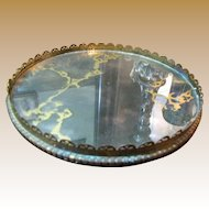 Retro Elegant Marbled Mirror Vanity Stand with Filigree Border