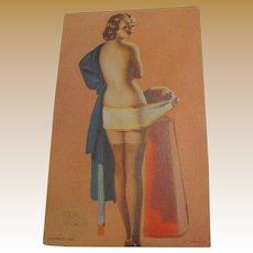 "1940's, ""Social Security""Pin Up Girl"" Mutoscope Arcade Lithograph Elvgren Art Card"