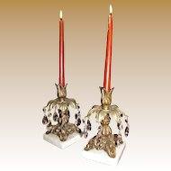 Pair of Ormalou & Marble Candle Holders, Drippy Crystals!