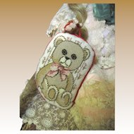 Little Teddy Needlepoint Hang Pillow for Doll Display