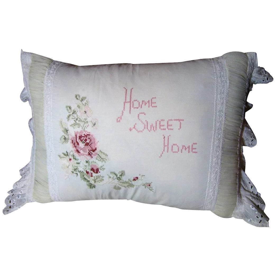 Charming Home Sweet Home Vintage Embroidered Pillow Fay Wray Antiques Ruby Lane